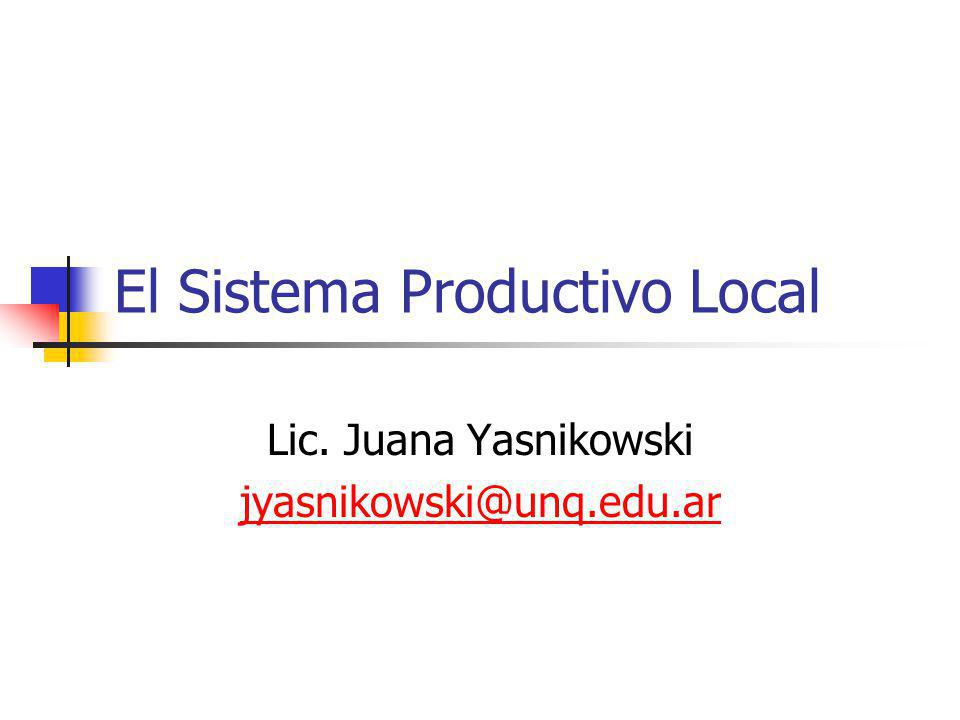 El Sistema Productivo Local