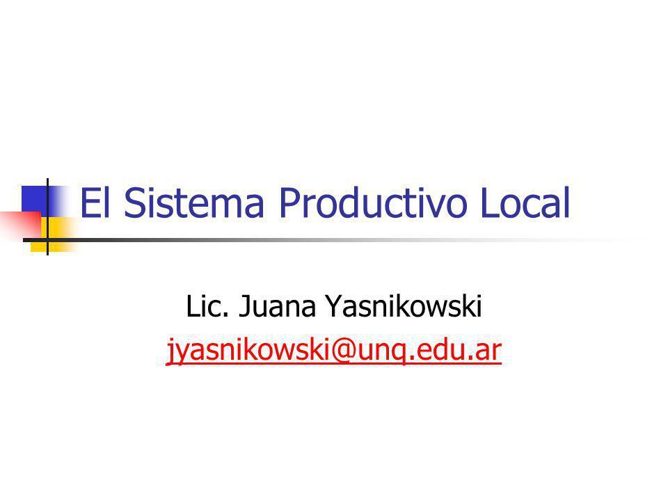 El Sistema Productivo Local