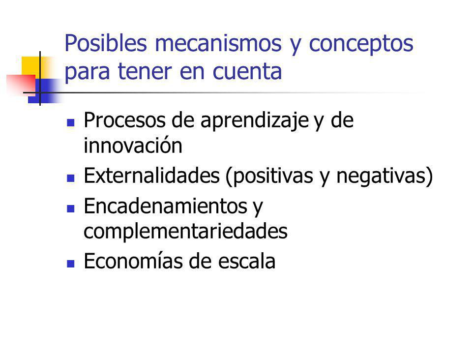 Posibles mecanismos y conceptos para tener en cuenta