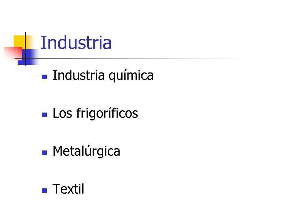 Industria Industria química Los frigoríficos Metalúrgica Textil