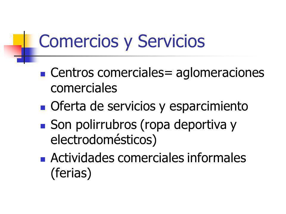 Comercios y Servicios Centros comerciales= aglomeraciones comerciales