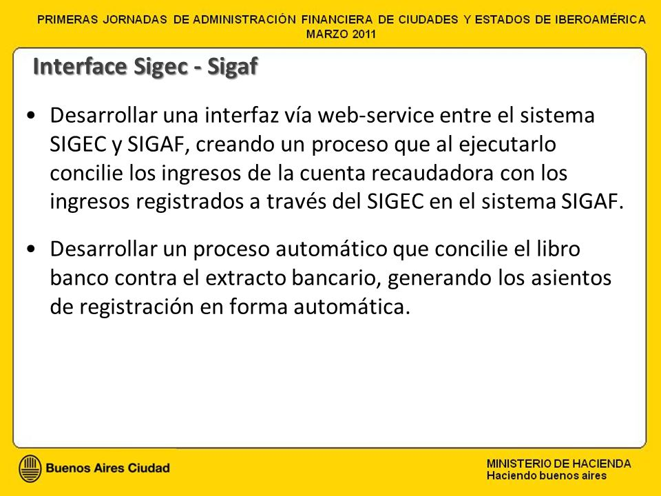 Interface Sigec - Sigaf