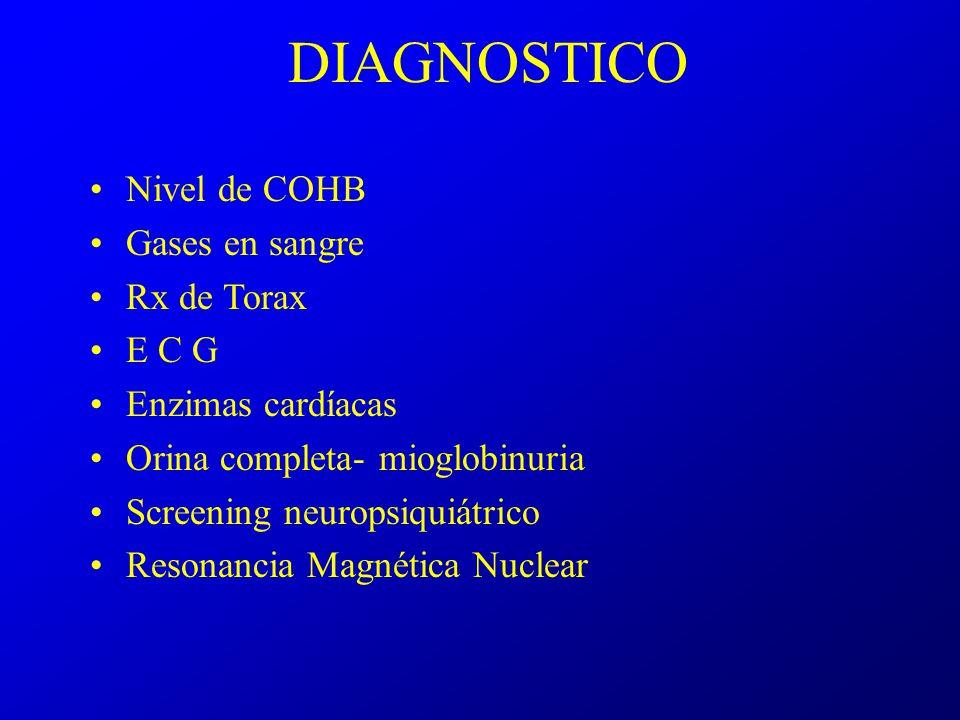 DIAGNOSTICO Nivel de COHB Gases en sangre Rx de Torax E C G