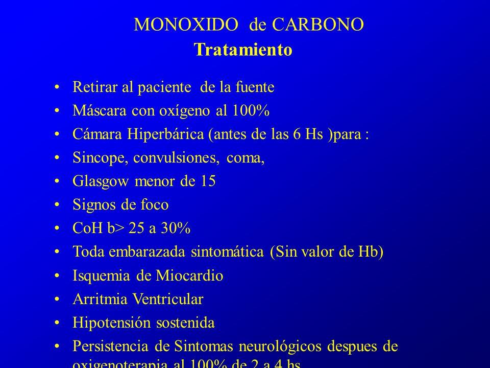 MONOXIDO de CARBONO Tratamiento