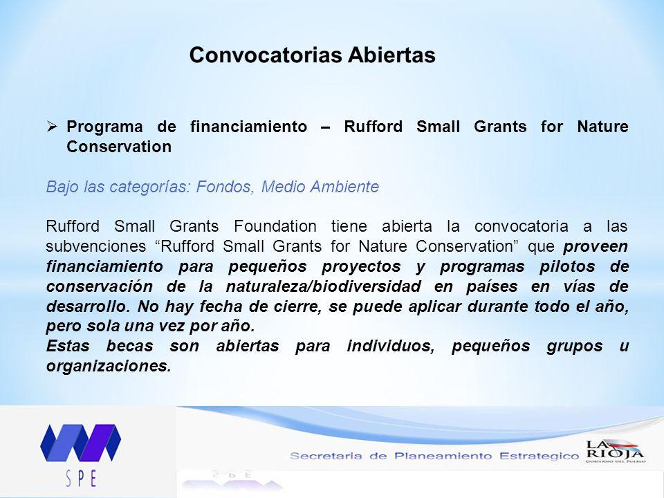 Programa de financiamiento – Rufford Small Grants for Nature Conservation