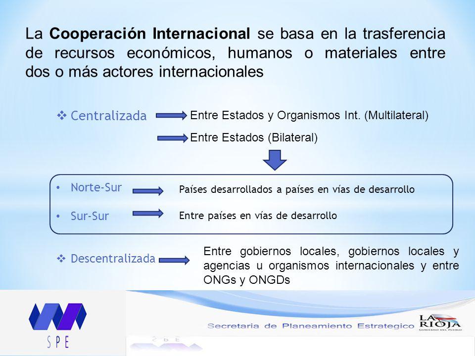 La Cooperación Internacional se basa en la trasferencia de recursos económicos, humanos o materiales entre dos o más actores internacionales