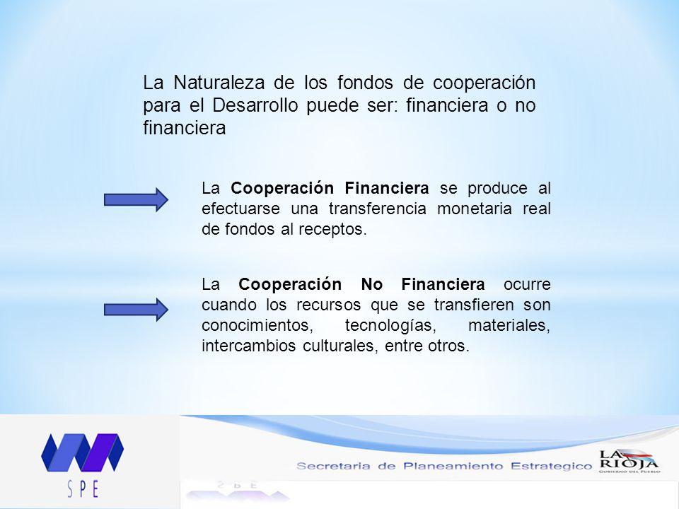 La Naturaleza de los fondos de cooperación para el Desarrollo puede ser: financiera o no financiera