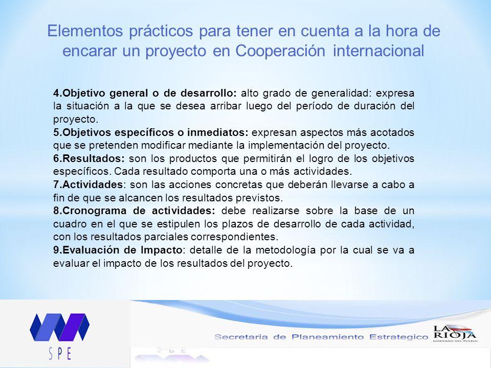 Elementos prácticos para tener en cuenta a la hora de encarar un proyecto en Cooperación internacional