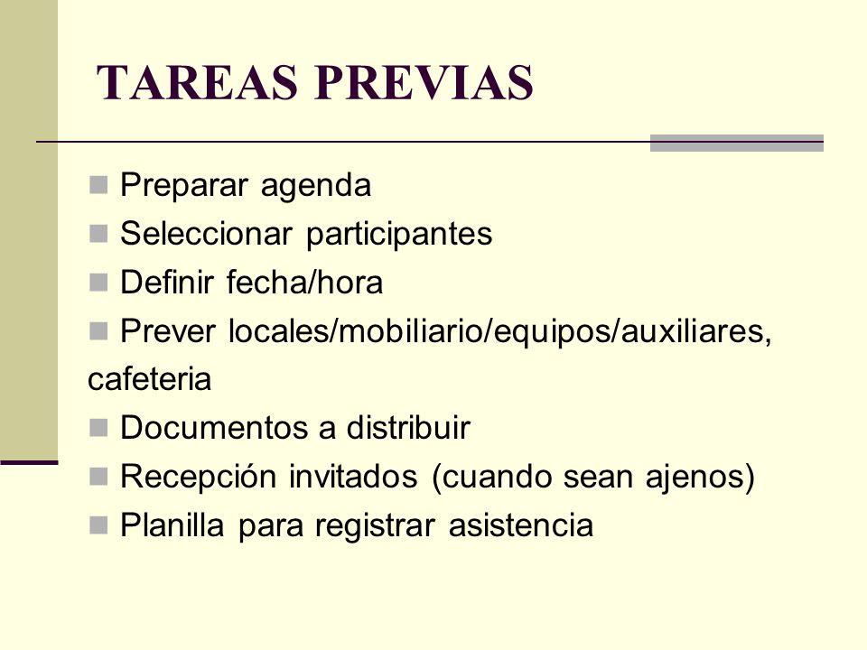 TAREAS PREVIAS Preparar agenda Seleccionar participantes