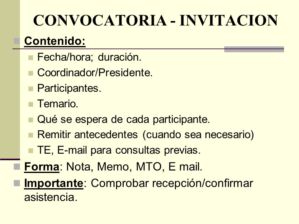 CONVOCATORIA - INVITACION