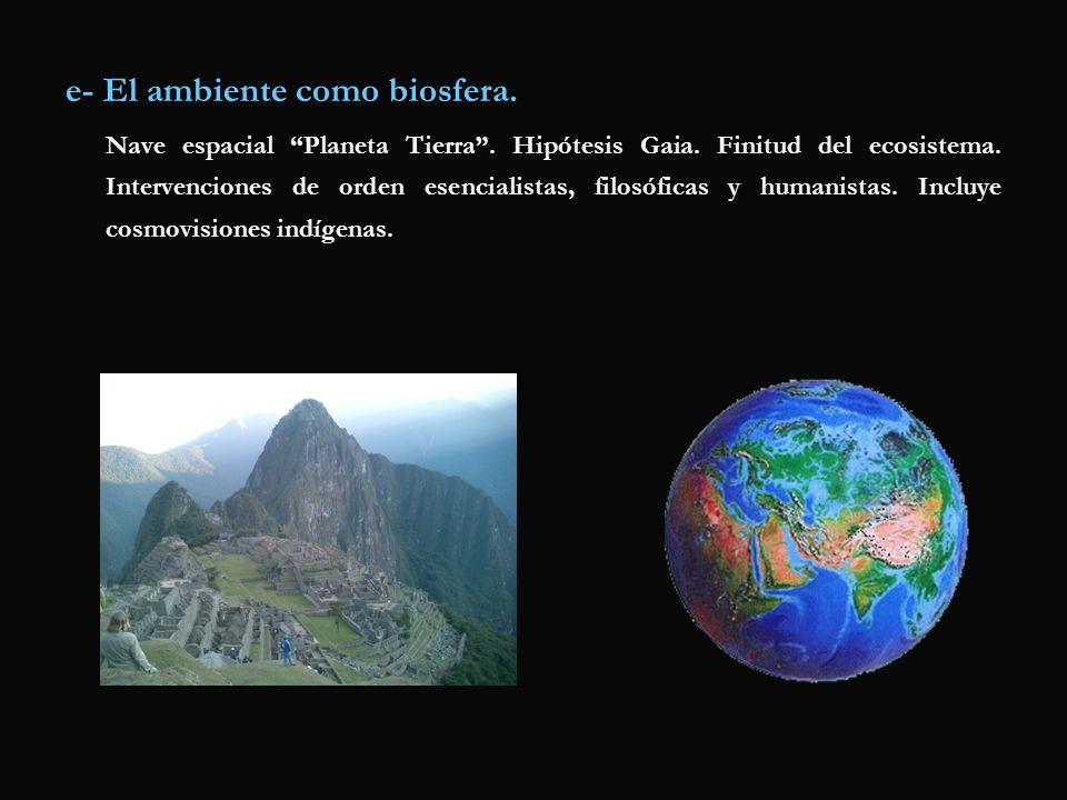 e- El ambiente como biosfera.
