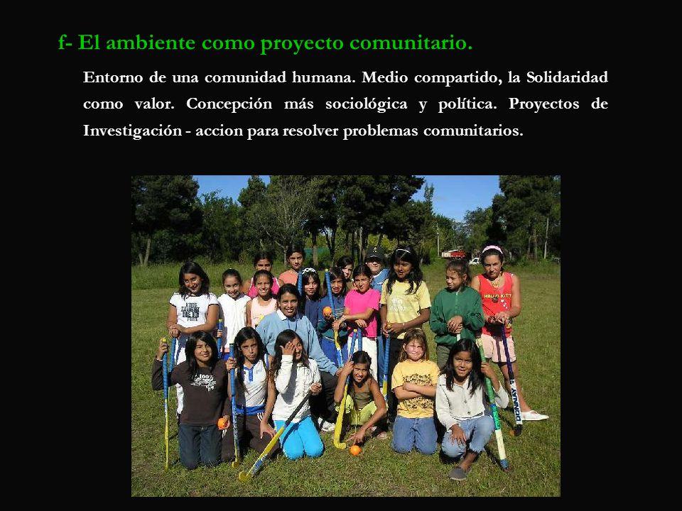 f- El ambiente como proyecto comunitario.