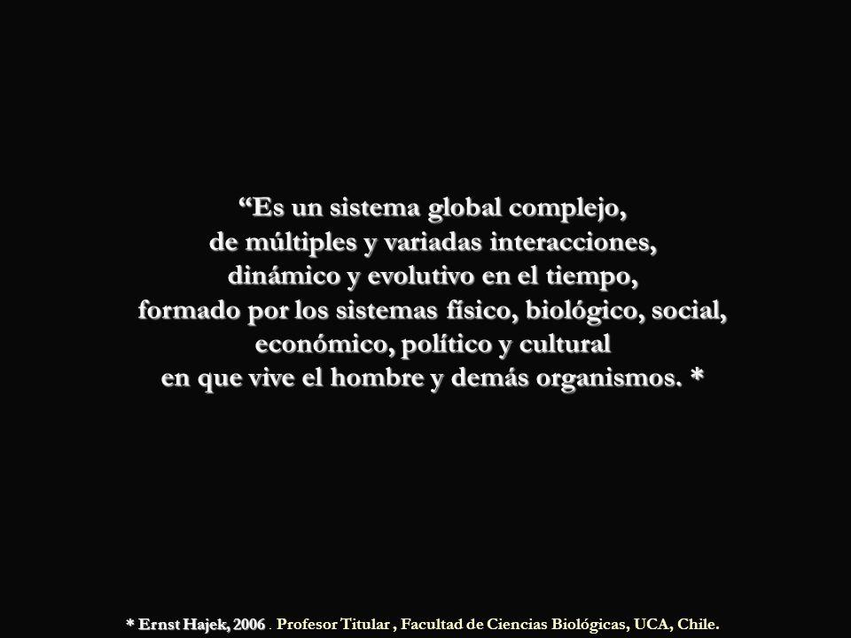 Es un sistema global complejo, de múltiples y variadas interacciones, dinámico y evolutivo en el tiempo, formado por los sistemas físico, biológico, social, económico, político y cultural en que vive el hombre y demás organismos. *