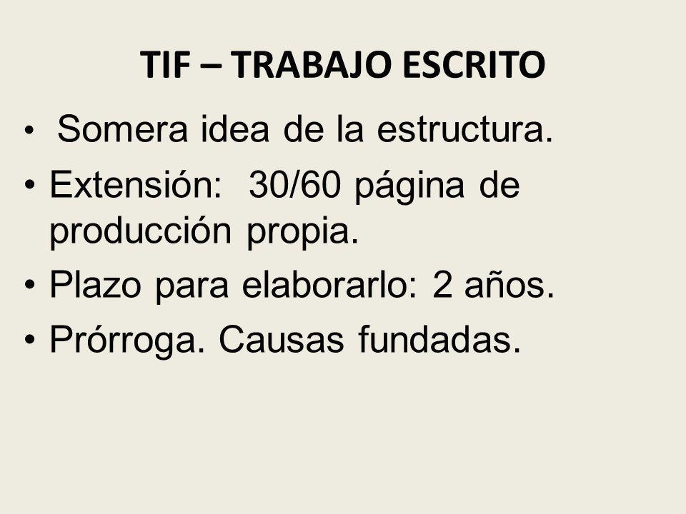 TIF – TRABAJO ESCRITO Extensión: 30/60 página de producción propia.
