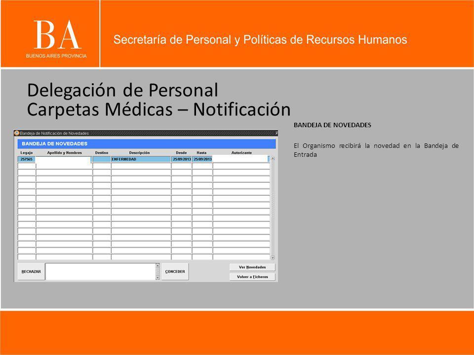 Delegación de Personal Carpetas Médicas – Notificación