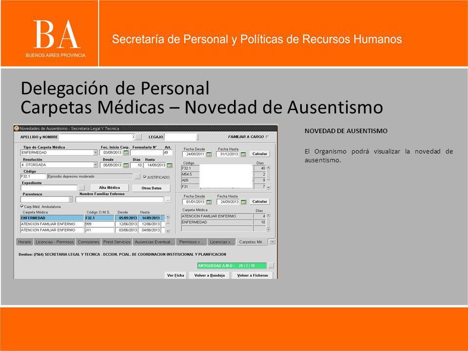 Delegación de Personal Carpetas Médicas – Novedad de Ausentismo