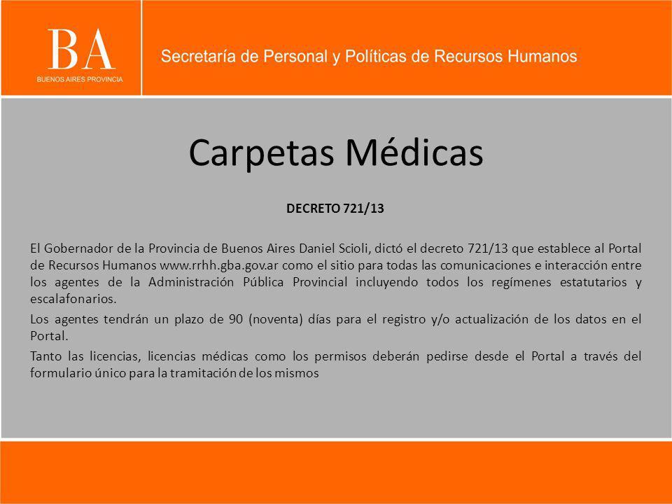 Carpetas Médicas DECRETO 721/13