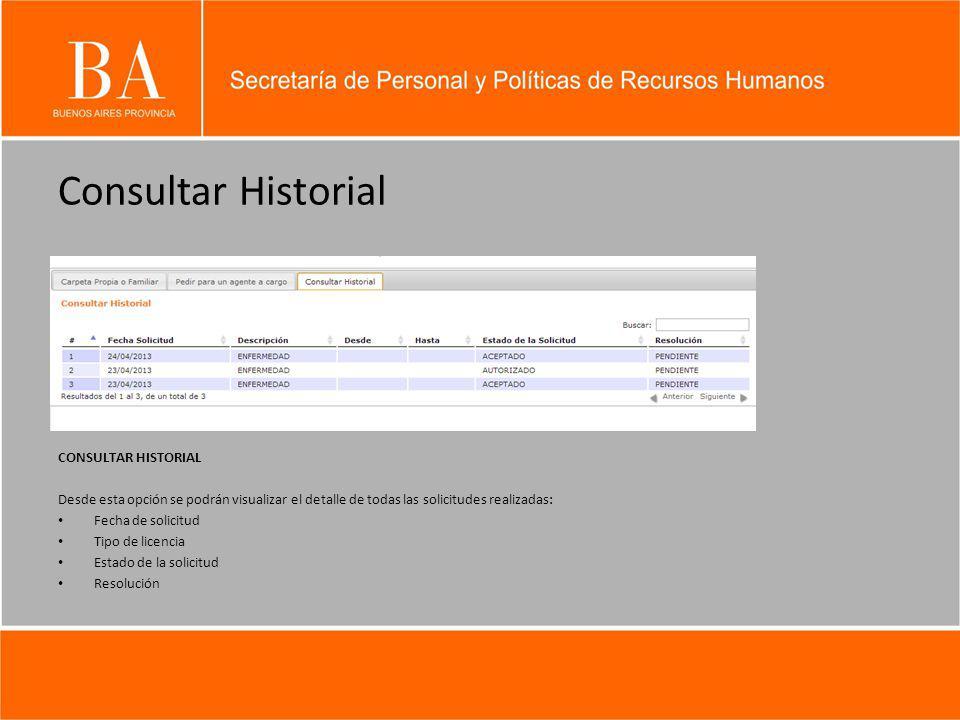 Consultar Historial CONSULTAR HISTORIAL