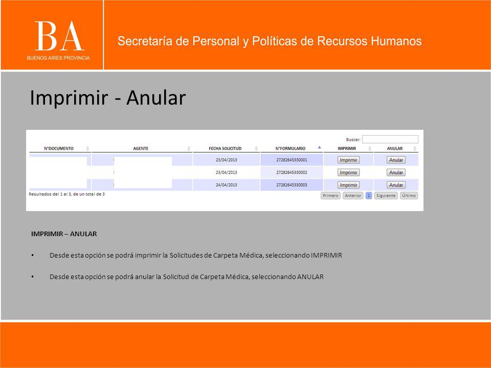 Imprimir - Anular IMPRIMIR – ANULAR