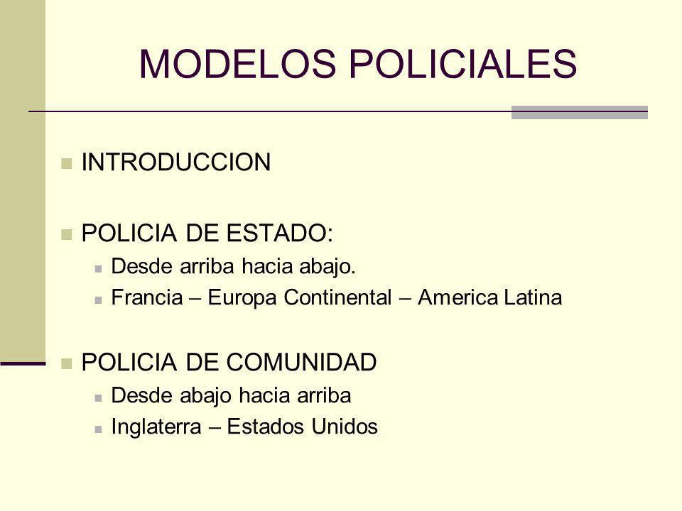MODELOS POLICIALES INTRODUCCION POLICIA DE ESTADO: