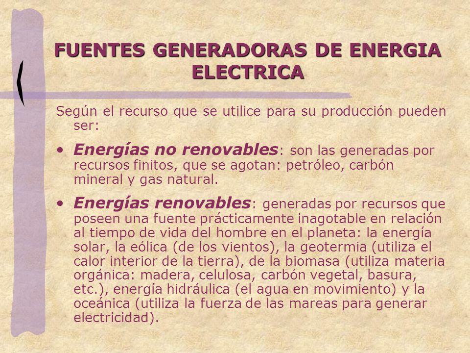 FUENTES GENERADORAS DE ENERGIA ELECTRICA