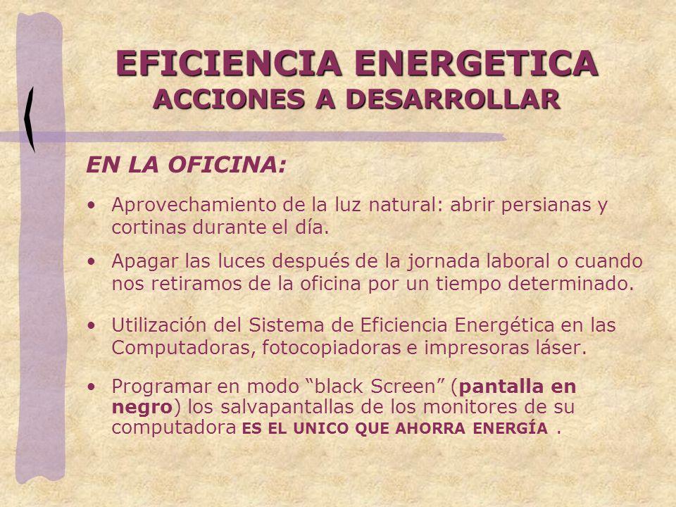 EFICIENCIA ENERGETICA ACCIONES A DESARROLLAR
