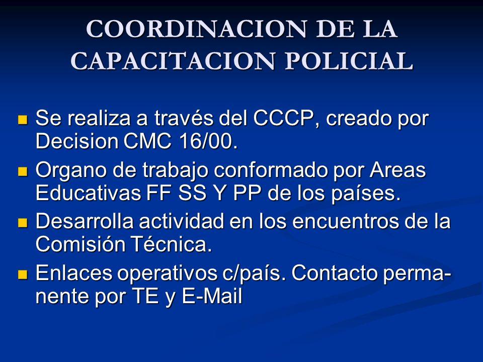 COORDINACION DE LA CAPACITACION POLICIAL
