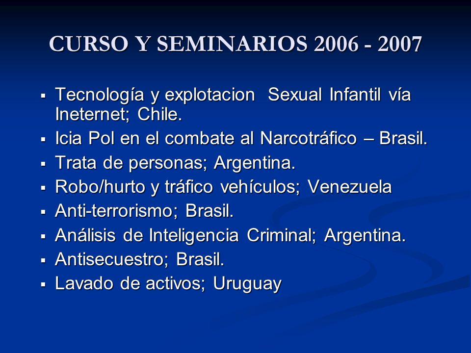 CURSO Y SEMINARIOS 2006 - 2007 Tecnología y explotacion Sexual Infantil vía Ineternet; Chile. Icia Pol en el combate al Narcotráfico – Brasil.