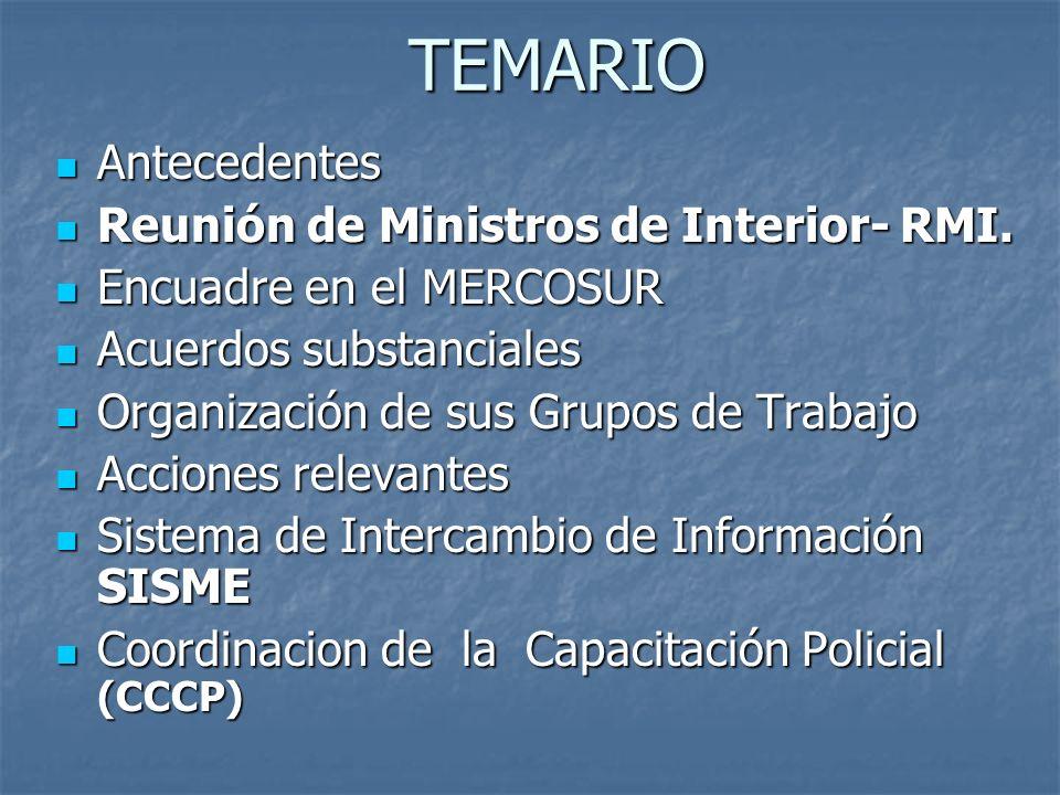 TEMARIO Antecedentes Reunión de Ministros de Interior- RMI.