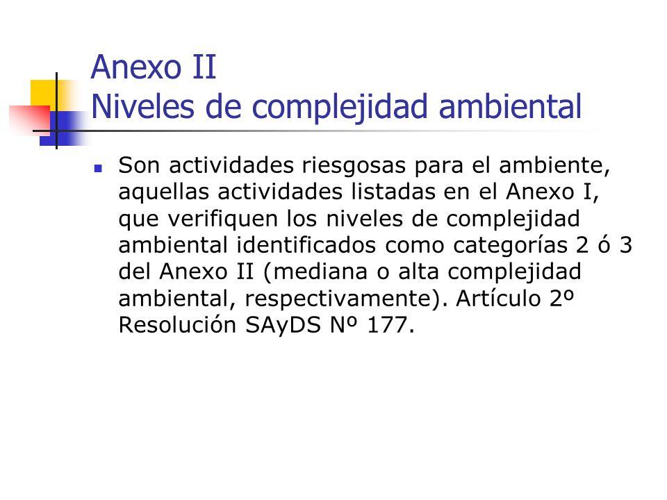 Anexo II Niveles de complejidad ambiental