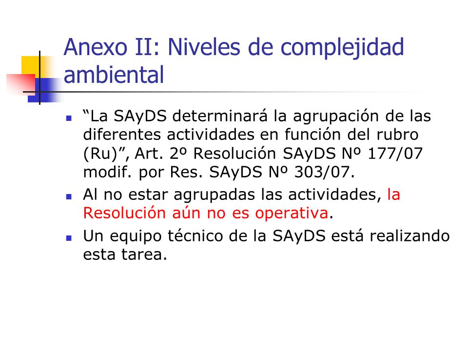 Anexo II: Niveles de complejidad ambiental