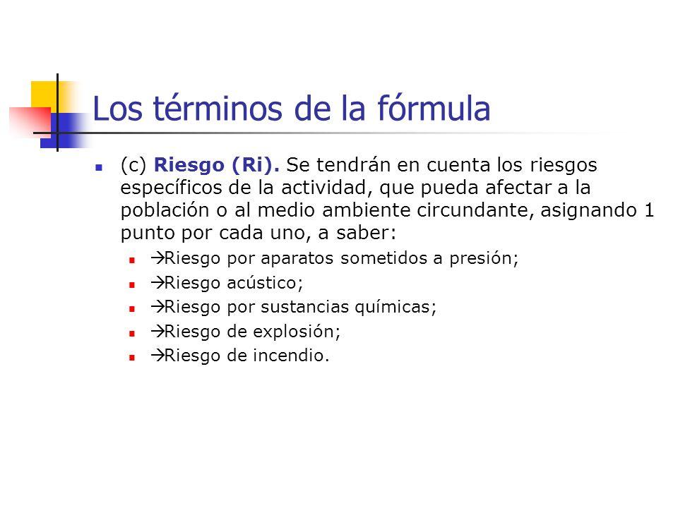 Los términos de la fórmula