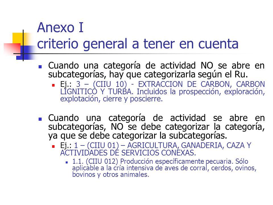 Anexo I criterio general a tener en cuenta