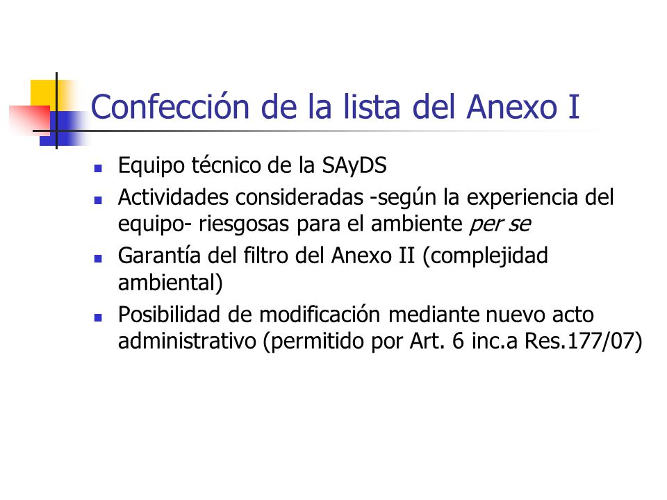 Confección de la lista del Anexo I