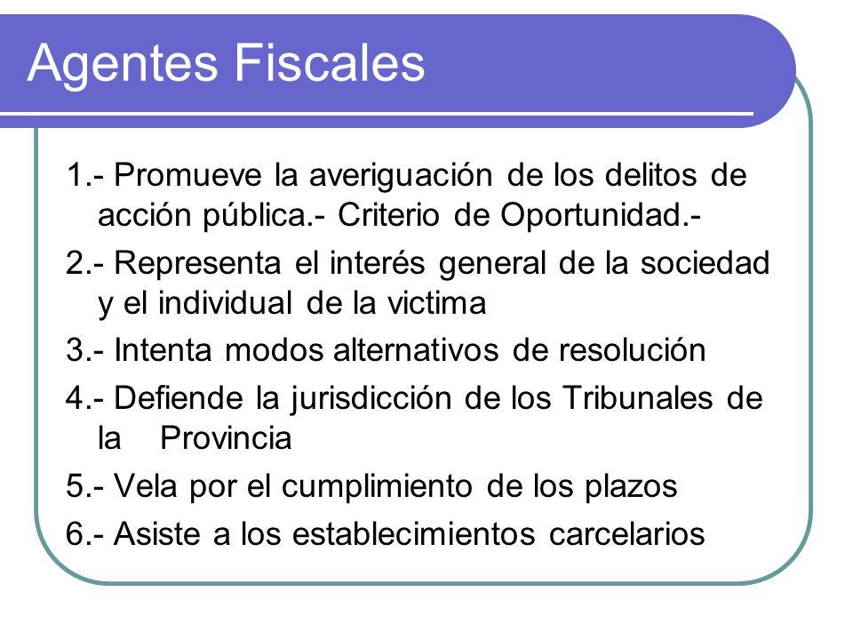 Agentes Fiscales 1.- Promueve la averiguación de los delitos de acción pública.- Criterio de Oportunidad.-