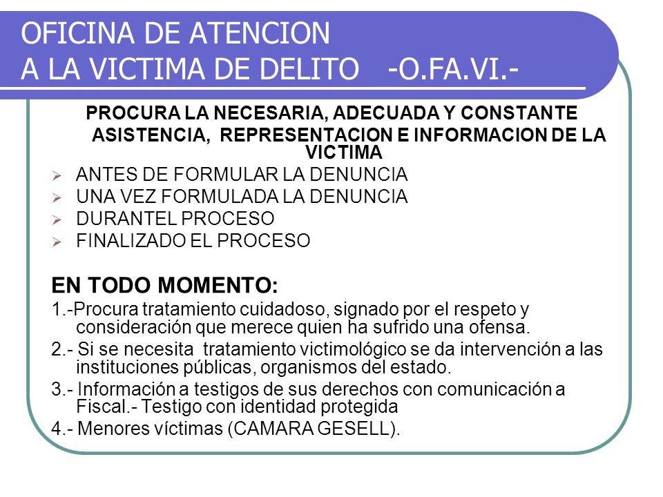 OFICINA DE ATENCION A LA VICTIMA DE DELITO -O.FA.VI.-