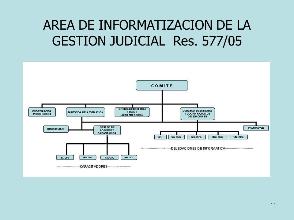 AREA DE INFORMATIZACION DE LA GESTION JUDICIAL Res. 577/05