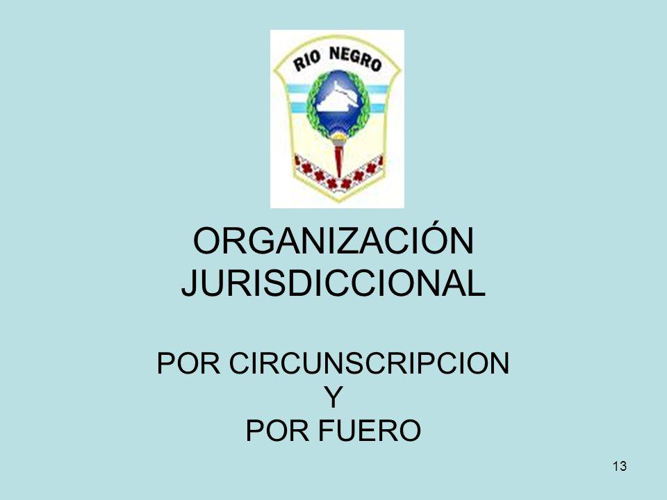 ORGANIZACIÓN JURISDICCIONAL POR CIRCUNSCRIPCION Y POR FUERO