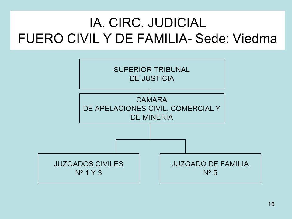 IA. CIRC. JUDICIAL FUERO CIVIL Y DE FAMILIA- Sede: Viedma