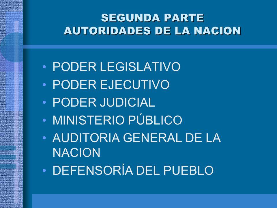 SEGUNDA PARTE AUTORIDADES DE LA NACION