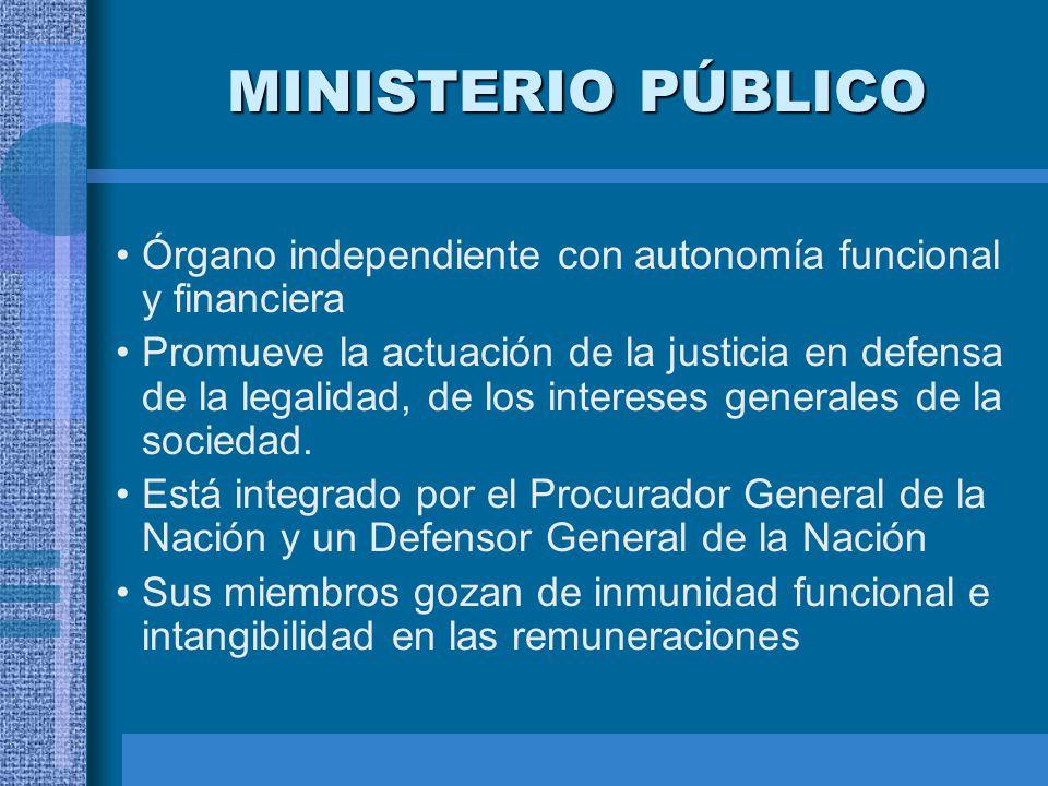 MINISTERIO PÚBLICO Órgano independiente con autonomía funcional y financiera.