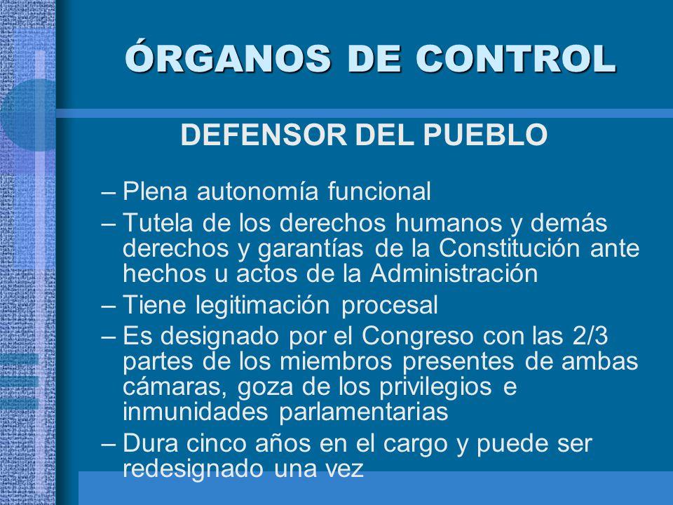 ÓRGANOS DE CONTROL DEFENSOR DEL PUEBLO Plena autonomía funcional