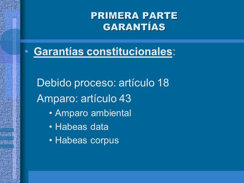 PRIMERA PARTE GARANTÍAS