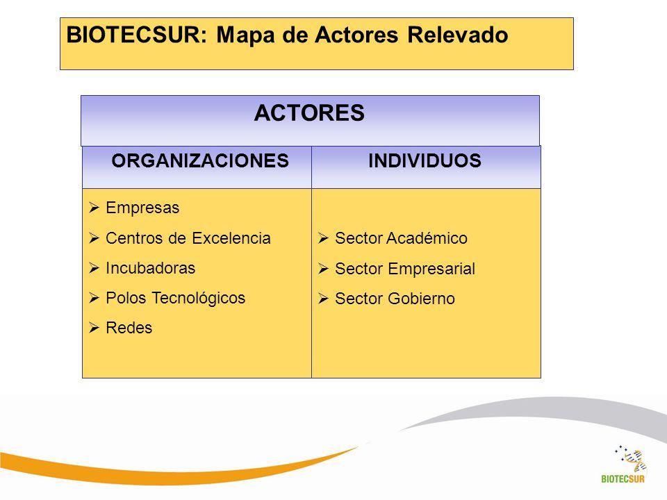 BIOTECSUR: Mapa de Actores Relevado