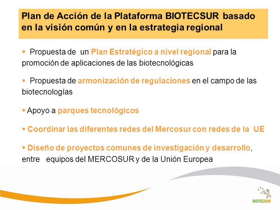 Plan de Acción de la Plataforma BIOTECSUR basado en la visión común y en la estrategia regional