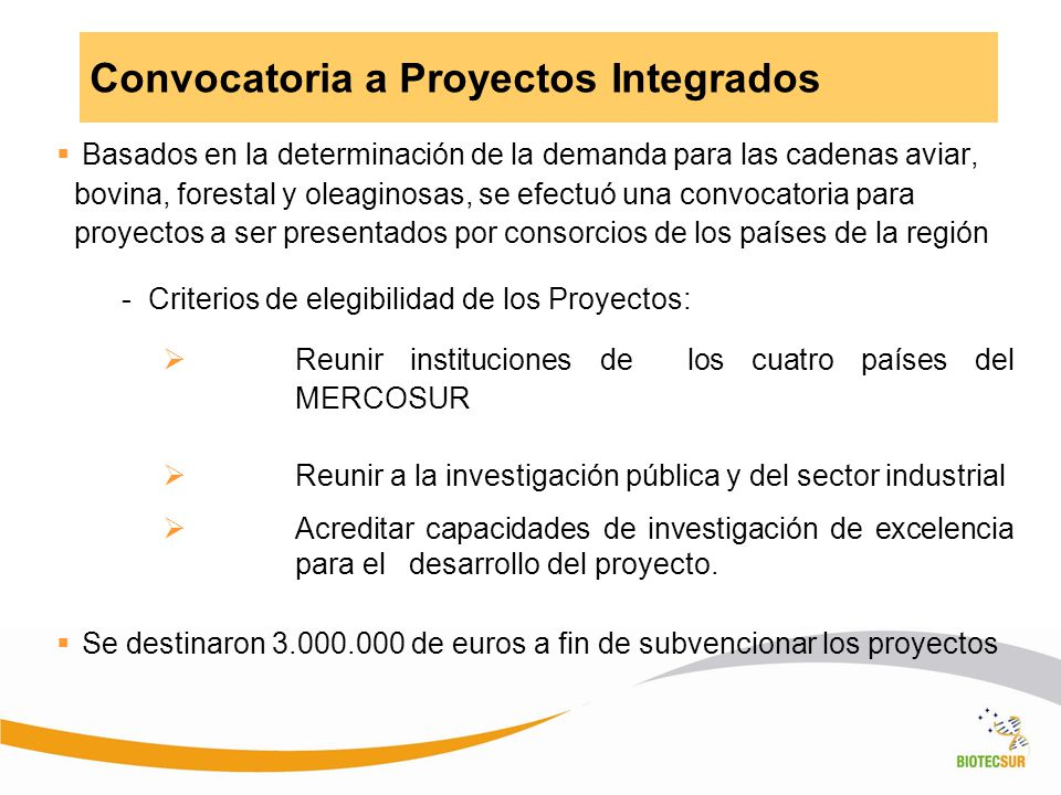 Convocatoria a Proyectos Integrados