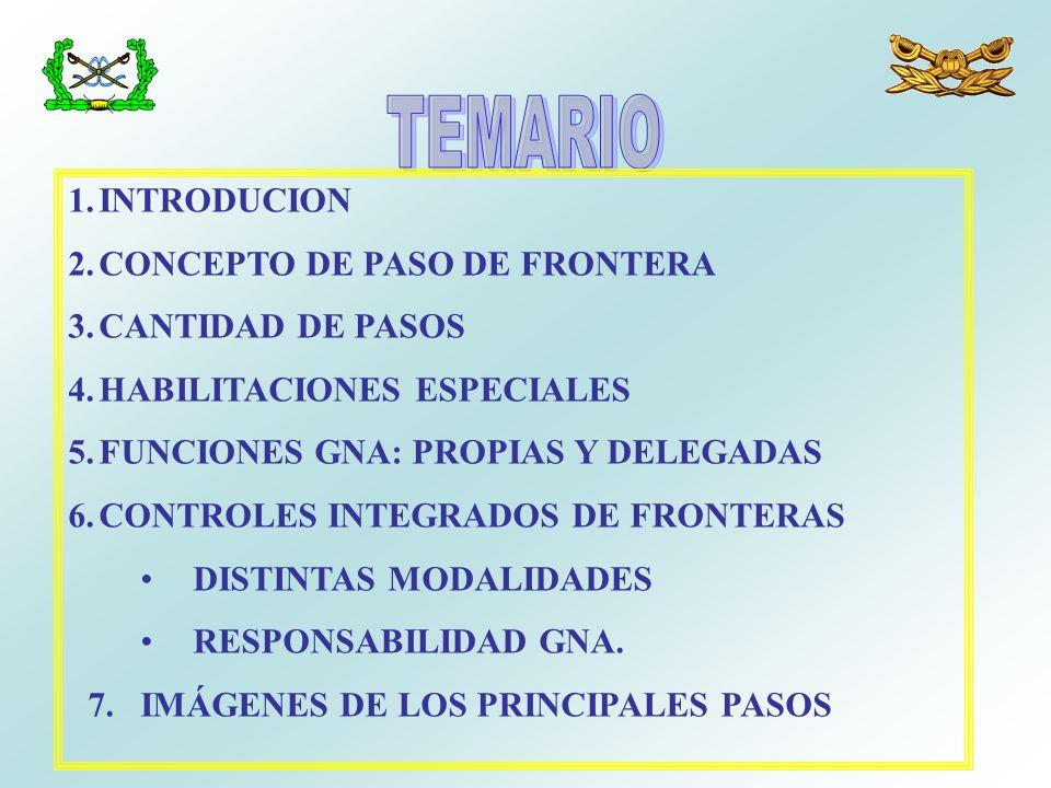TEMARIO INTRODUCION CONCEPTO DE PASO DE FRONTERA CANTIDAD DE PASOS