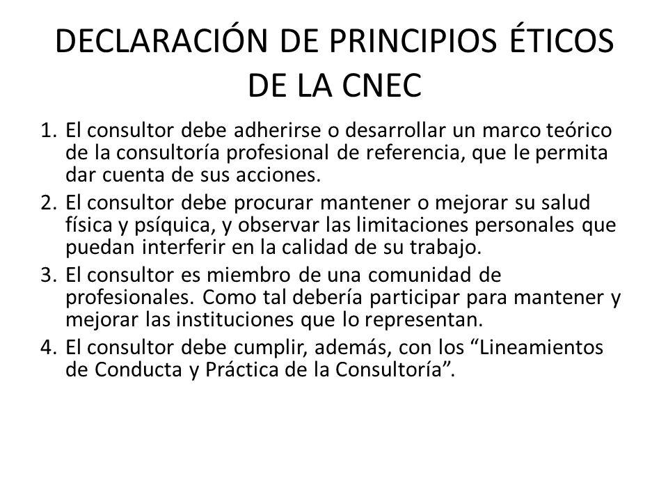 DECLARACIÓN DE PRINCIPIOS ÉTICOS DE LA CNEC