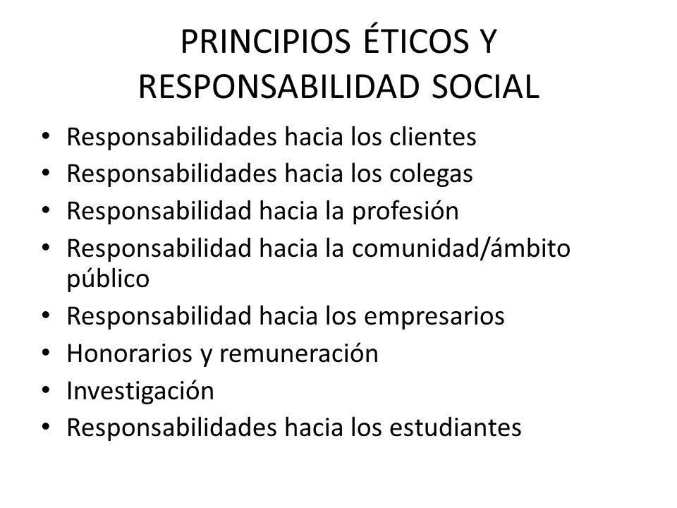 PRINCIPIOS ÉTICOS Y RESPONSABILIDAD SOCIAL