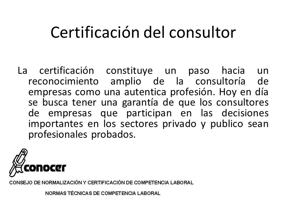 Certificación del consultor